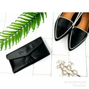 Dooney & Bourke tri-fold leather clutch black